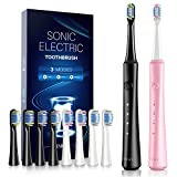 ATMOKO Dual Sonic Toothbrush, Electric Toothbrushes Adults Clean Teeth Like a Dentist Rechargeable
