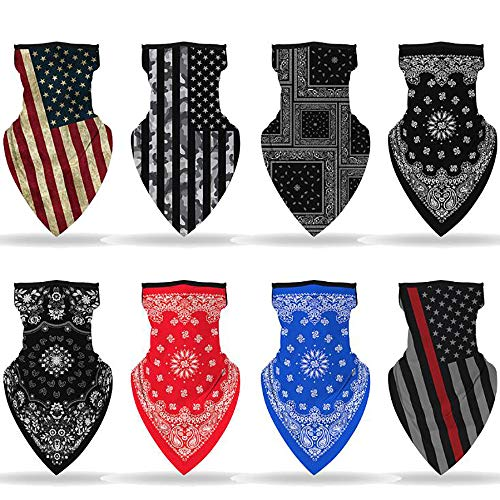 8 Sets of American Flags Neck Gaiter Face Cover Mask, Sun Face Scarf Masks Bandanas for Women Man Balaclava-Fishing Cycling Motorcycle