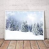 YuanMinglu Arte Paisaje Invierno Nieve Abeto Pintura Sala de Estar Pared Impresa en Lienzo Arte decoración Moderna Mural Pintura sin Marco 60X90cm