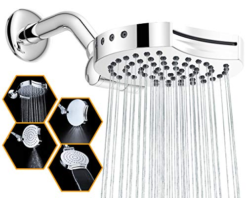 """Suptaps 6"""" Inch High Pressure 4-Settings Rain Shower Head, Fixed Waterfall Showerhead - Wall Mount Adjustable 360 Degrees Direction with Easy Installation (Chrome)"""