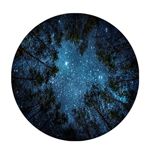 Goodbath Forest Starry Round Rugs, Trees Night Sky Space Galaxy Non-Slip Area Rug Washable for Bedroom Living Room Study Playing Floor Mat Carpet, 3 Feet