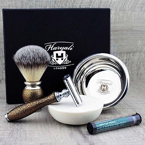 Haryali London 5Pc Antique Mens Shaving Kit With Double Edge Safety Razor,...