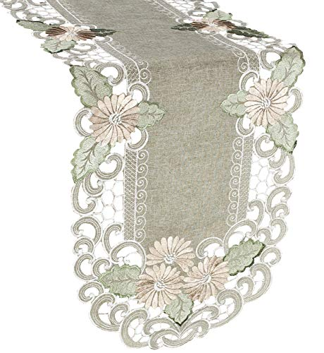 Linens, Art and Things Embroidered Gold Daisy Fleur Latte Table Runner or Dresser Scarf 16 x 35 Inches