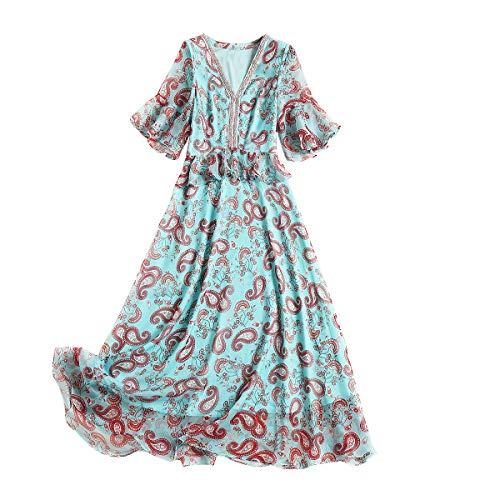KQW-DRESS jurk voor vrouwen, trui met V-hals, mouwen, ruches, bedrukt, abstract, smal, jurk van chiffon