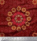 Soimoi Rot Baumwolle Ente Stoff Damast & Mandala dekorativ