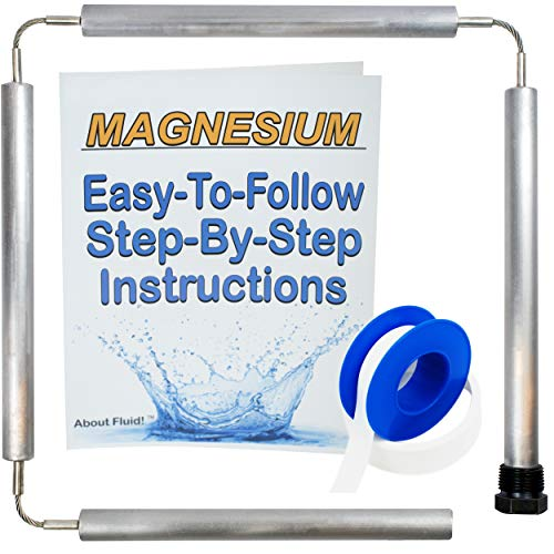 About Fluid   Magnesium Flexible Anode Rod Kit for Water Heaters   Teflon Tape   Easy-to-Follow, Step-by-Step Instructions   44 Inches Long. (Without Socket and Cap)