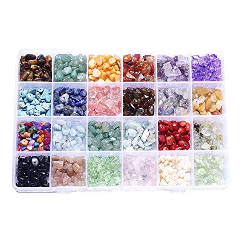 XJF Juego de 24 cuentas de piedras preciosas irregulares surtidos caja de cuentas sueltas para la fabricación de joyas