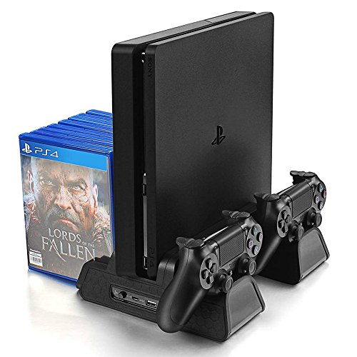 VOIMAKAS PS4/PS4 Slim/PS4 Pro Vertikaler Standfuß, PS4 Ständer mit PS4 Controller Ladestation und 3 Eingebaute Kühler Lüfter und Ladekabel & 12 Spiele Discs Sitze, Schwarz