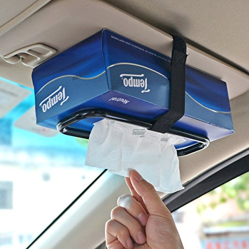 Tianmei Auto Accessories Car Sun Visor Tissue Box Holder Paper Towel Napkin Box Cover Seat Back Bracket Portable Car Mount Organizer (Black)