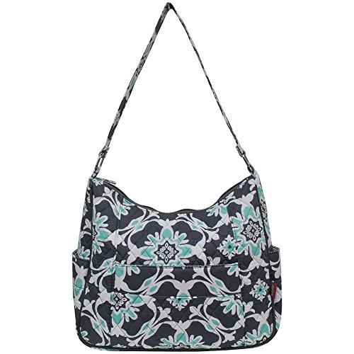Ngil Quilted Cotton Hobo Shoulder Bag (Quatro Vine Grey)