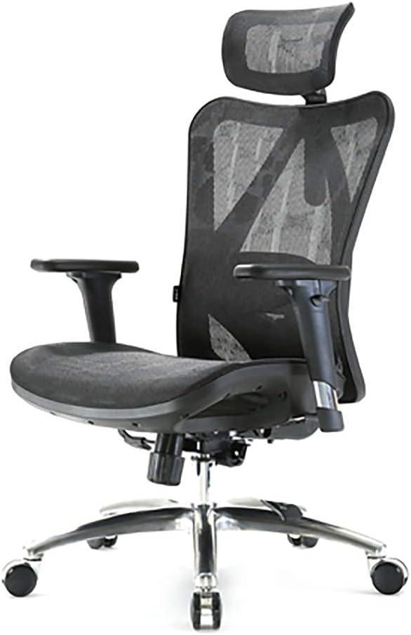 ANGEL kalistO Bürodrehstuhl, grau Schreibtischstuhl, Lordosenstütze, verstellbare Kopf- und Armlehne, Höhenverstellung und Wiegenfunktion,…