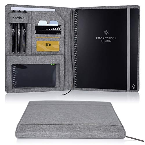 Folio Cover for Rocketbook Everlast Fusion - Letter Size, Multi Organizer with Pen Loop, Business Card Holder, Zipper Pocket Support Mini Size Rocketbook, Waterproof Fabric, 11 x 9 inch, Gray