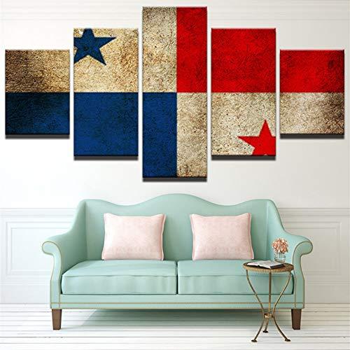 GIAOGE schilderij decoratie schilderij voor de woonkamer afdrukken 5 panelen panama vlag Cuadros modulaire poster hoge kwaliteit canvas foto frame Frame 20x35 20x45 20x55cm
