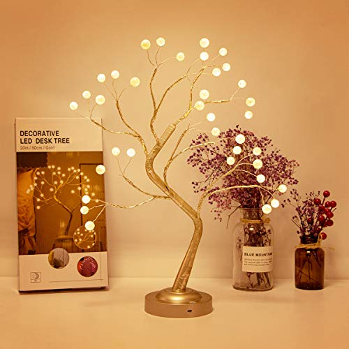 esLife 20 Inch Warm White Bonsai Tree Lamp, DIY Standing Lamp, USB/Battery Operated Corner Lamp,Christmas Fairy Light Tree for Bedroom Party Living Room Decoration