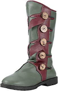 TAOFFEN Women Vintage Low Heels Mid Top Boots Pull On