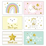 Gooji 4x6 Gold Foil Baby Starry Night Thank You Cards (Bulk 36-Pack) Matching Peel-and-Seal White Envelopes   Assorted Set, Watercolor Graphics   Baby Shower, Birthday Party, Blank Notes