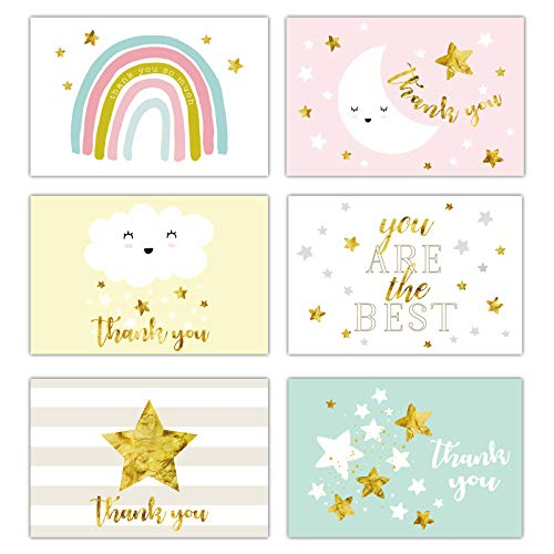 Gooji 4x6 Gold Foil Baby Starry Night Thank You Cards (Bulk 36-Pack) Matching Peel-and-Seal White Envelopes | Assorted Set, Watercolor Graphics | Baby Shower, Birthday Party, Blank Notes