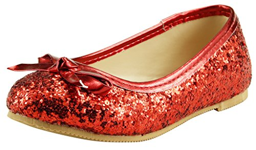 The Doll Maker Bow Top Glitter Flat-FBA173032A-12, Red, 12 M US Little Kid