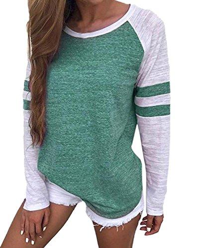 VONDA Langarmshirt Damen Oberteile Baseball Shirt Gestreift Farbblock Bluse Casual Lose Rundhals Oversize Pullover A-Grün XL