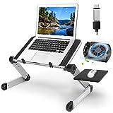 Yuede Faltbarer Laptop Ständer, Ergonomisch Notebook Stand aus Aluminium für Laptops bis zu 15.6', Universal PC Halter mit Lüfter/Abnehmbarer Mausablage/Anti-Rutsch-Stange