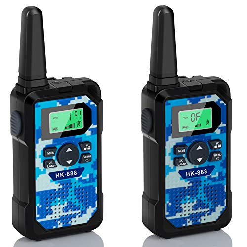 Walkie Talkies for Kids 2 Pack, 22 Channels 2 Way Radio 3 KMs Range VOX Talking with Flashlight, LCD Screen, Handheld Interphone Gifts for 3-12 Year Old Boys Girls Outdoor Camping Hiking (Camo Blue)