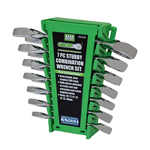GRIP 89098 Stubby Combo Wrench Set, mm, 7-Piece