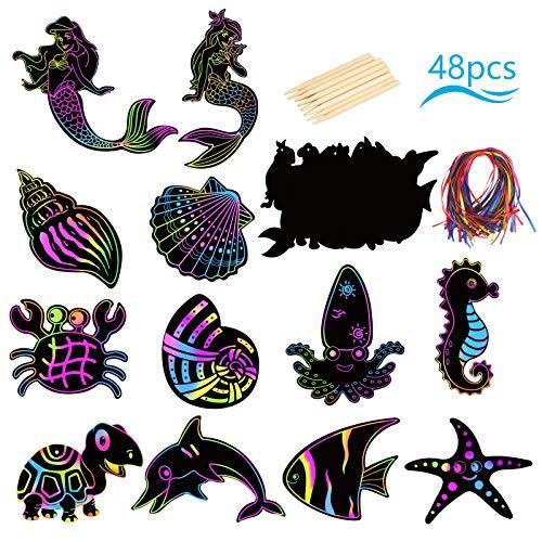 ZERHOK 48Stk Meerestiere Kratzbilderbastelsets Kinder Regenbogen Kratzbilder Unterwasserwelt Scratch Art Kreative Meerjungfrau Kratzbildform Basteln mit Holzstiften und Bändern