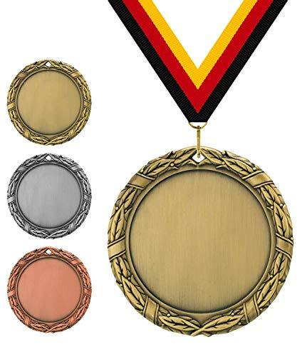 Pokalmatador GmbH Ø 70 mm Medaille Italien inkl. Medaillenband und Aluminiumemblem mit Sportart und Beschriftung (Altgold, inkl. Beschriftung)