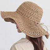 sombrero Moda Paja de Verano de Mujeres Fresca pequeña Grande Plegable Playa Mar Alquiler for el Sol Protector Solar Sol (Color : B, Size : F)