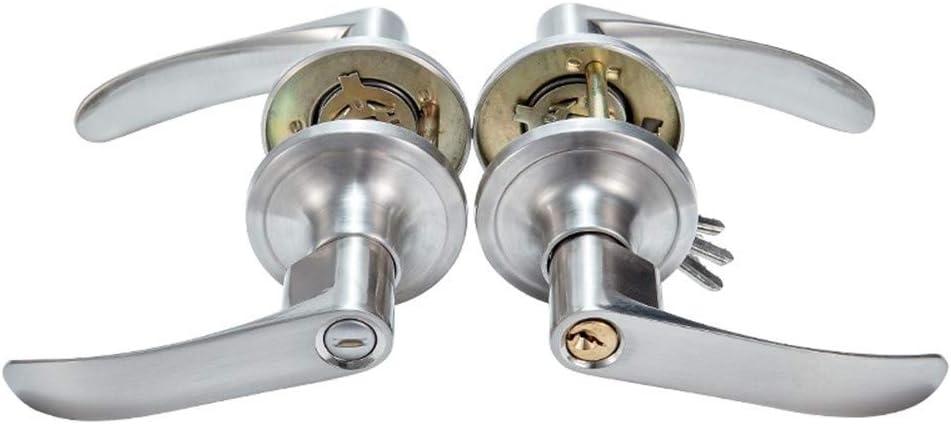 Easy Installation Handle Room Door Lock Household Color Steel Door Lock Plastic Steel Lock Three Lever Universal Ball Lock Stainless Steel Lock : Without Lock, Size : 45mm