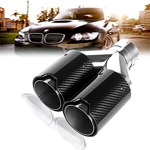 Super-ZS Silenciador del Tubo de Escape de Fibra de Carbono, decoración del Tubo de Escape del Coche 63mmY Tipo Doble Garganta de Cola (Adecuado para BMW)