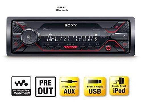 Sony DSX-A410BT - Autoradio multimédia avec technologie Bluetooth Dual (4 x 55 W, Commandes vocales compatible avec Siri Eyes et Android, USB), Noir/Rouge