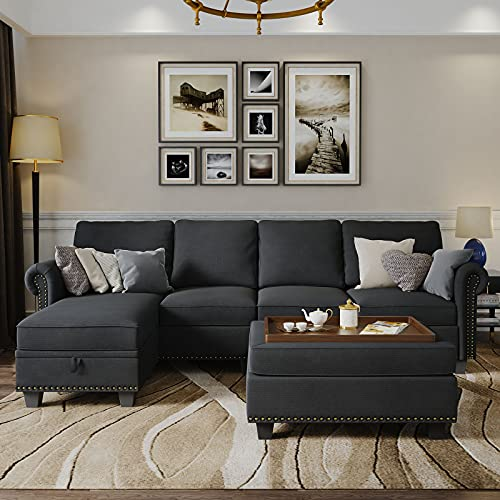 Nolany Convertible Sectional Sofa Couch with Reversible Chaise, L Shaped Sofa Set with Storage Ottoman for Living Room, Dark Grey