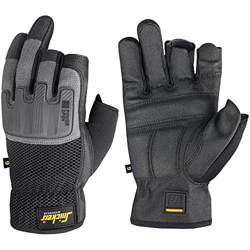 Snickers Power Handschuhe offen, 1 Stück, Größe 10, schwarz/grau, 95860448010