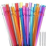 ALINK Lot de 32 pailles réutilisables en Plastique Rigide avec 3 pe Brosse de Nettoyage -Couleurs Arc-en-Ciel (5-6 couleurs)