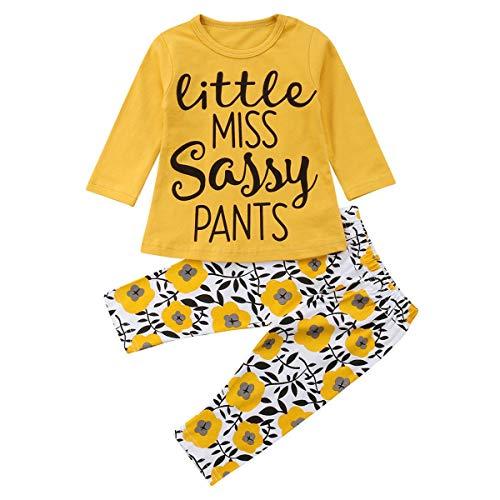 Toddler Baby Girls Little Miss Lettre Imprimer Vêtements Outfit T-shirt à manches longues Tops + Pantalon Floral 2 Pcs/Set (Size : 80)
