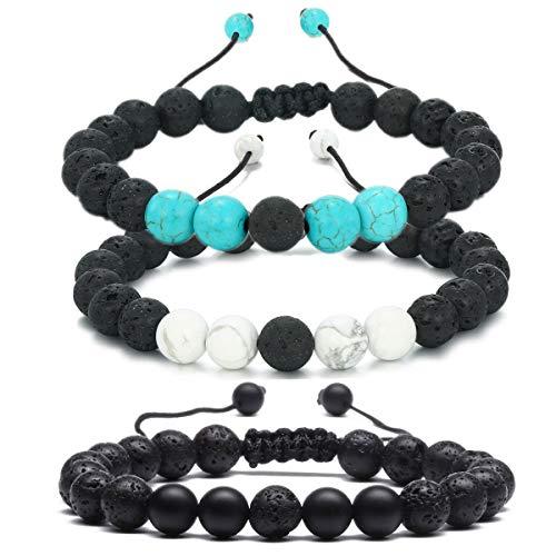 MengPa Mens Lava Rock Bracelet for Women Aromatherapy Anxiety Essential Oil Diffuser Volcanic Stone Bead Bangle (Rope-Black Lava&Matte&Blue&White Howlite E034ABD)
