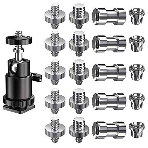 Gobesty Kamera Gewindeadapter, Gewindeschraube 1/4 auf 3/8 Schraube, 1/4 auf 1/4 Zoll Schraube, Stativgewinde Adapter, Kamerahalterung Schrauben für Stativ/Einbeinstativ/Schnellwechselplatte