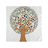 RAUP Satin Napkins Set of 6, Isolated Diversity Tree Hands Illustration Greeting,Square Printed Party & Dinner Cloth Napkins,20' X 20'