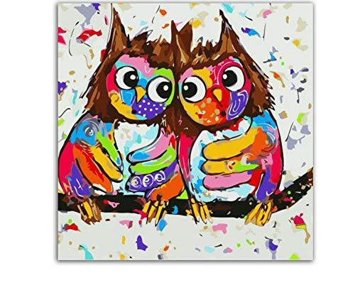 ODMKGE Ölgemälde Fantasie Gemalte Eule Tier Abstrakte Malerei Malerei Moderne Wandkunst Bild Für Familie Wandkunst