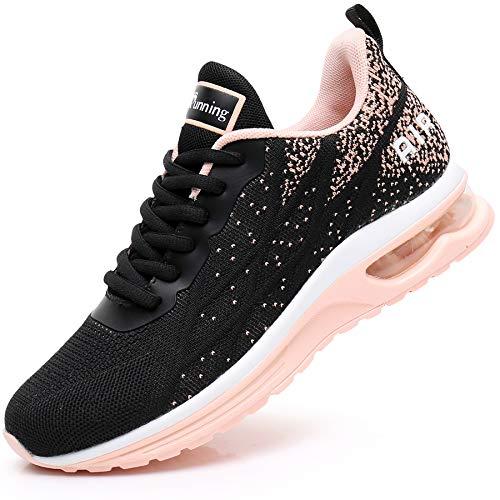 MEHOTO Womens Fashion Lightweight Tennis Walking Shoes Sport Air Fitness Gym Jogging Running Sneakers (Peachblack US 9 B(M)