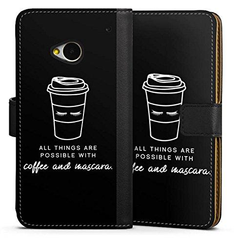 DeinDesign HTC One M7 Tasche Hülle Flip Case Mascara Kaffee Spruch