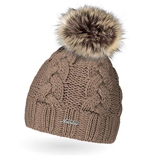 Neverless Damen Strick-Mütze gefüttert mit Fell-Bommel, Kunstfell, Winter-Mütze, Bommelmütze, dunkel-beige Unisize