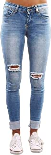 Howely Womens Comfy Ripped Mid Rise Slim Washed Skinny Leg Pull On Jean