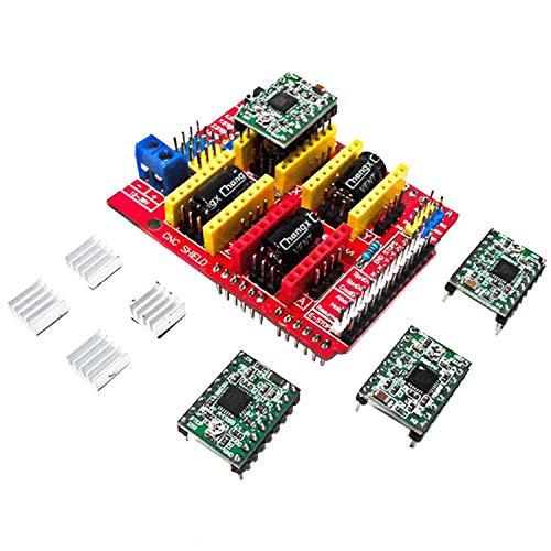 AZDelivery CNC Shield V3 Bundle mit 4 Stück A4988 Schrittmotor Treiber Stepper mit Kühlkörper für Arduino, 3D Drucker
