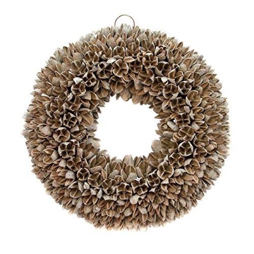 COURONNE Couronne de porte avec dispositif de suspension 30 cm en gris, fabriquée à partir de fruits de Bakuli – Décoration en matériaux naturels comme décoration d'automne dans un design shabby chic.