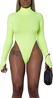 Women's Basic Solid Sexy Bodysuit Turtleneck Leotard Top Long Sleeve Bodycon Jumpsuit Stretchy Romper