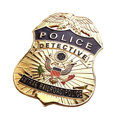 JXS Replica DE LA POLICÍA DE Americana Police, 1: 1 Reedición de la Insignia de la policía ferroviaria, colección de medallas Militares de Cobre 6.4 × 8.7cm