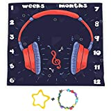 Red Headphones Music Backrop for Baby Shower Growth Tracker, 40x40in Soft Flannel, Baby Monthly Milestone Blanket, Newborns Mom Gifts with 2 Bonus Marker LHFS1153