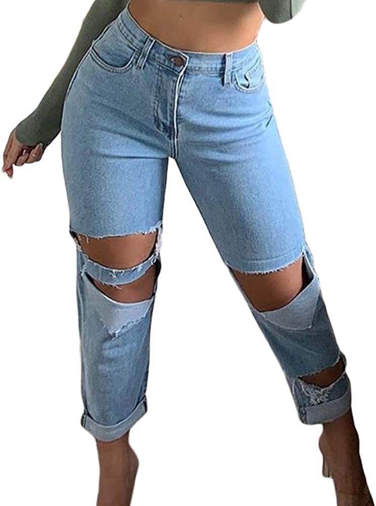 Kabxryaclo Women Ripped Jeans Revtown High Waisted Denim Pockets Washed Tapered Pants